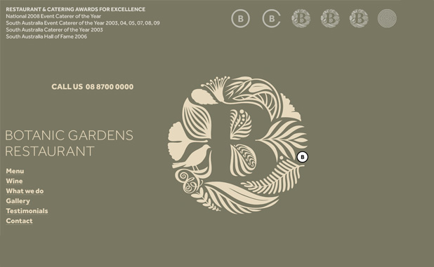A screenshot showing the Botanic Gardens Restaurant home page