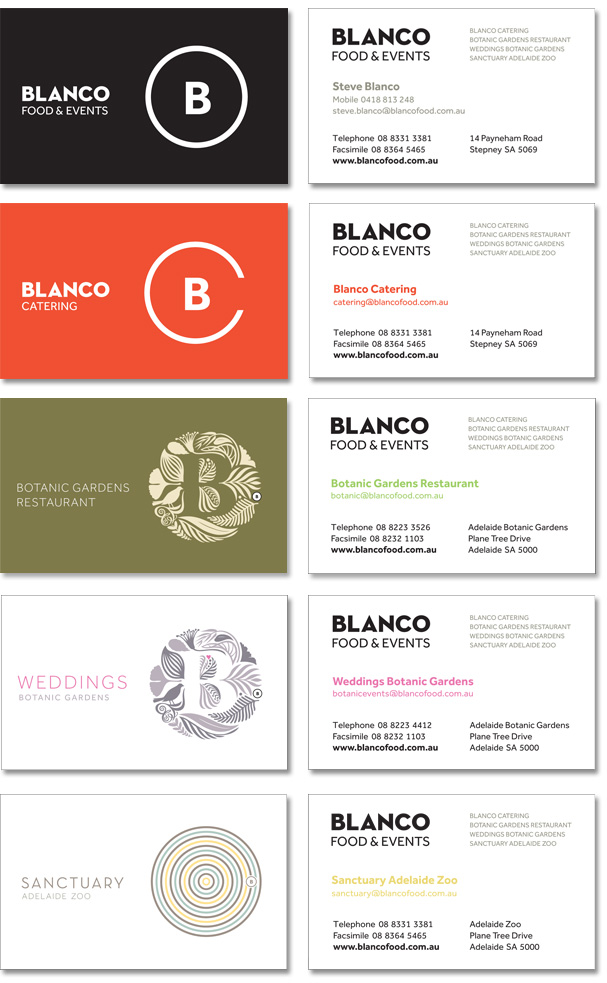 An image of the 5 business cards designed for Blanco.