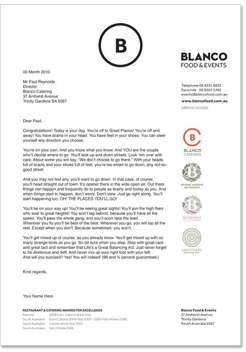 An example of the stationary design done for Blanco. Shows the use of the main Blanco logo on the top, and the 4 other logos down the right hand side.