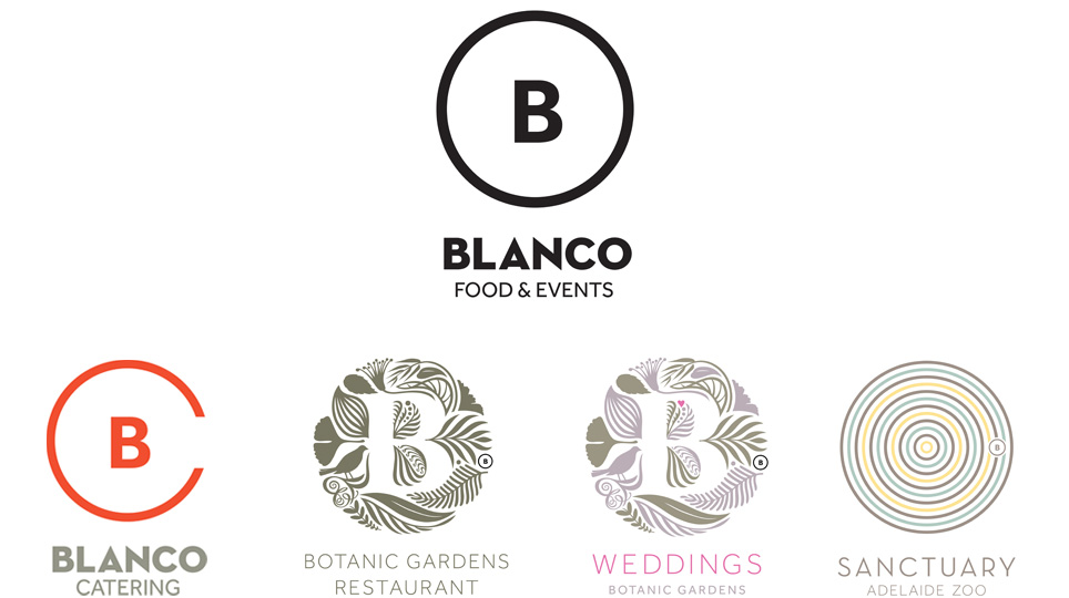 An image of the 5 logos developed for Blanco.