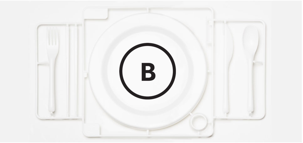 An image showing the origin of the Blanco logo, the logo overlaid onto a plastic dinner setting.