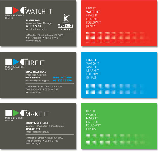 A series of 3 MRC business cards, in red, blue and green.