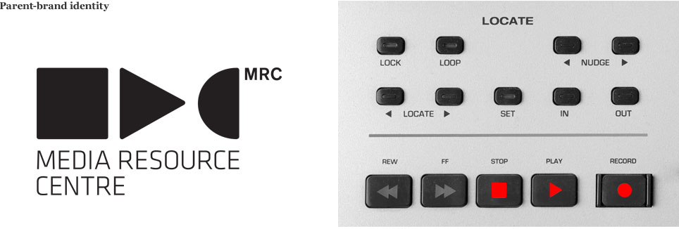 An image showing the MRC logo on the left and the origin of the logo, in the form of pause, play and record buttons, on the right.
