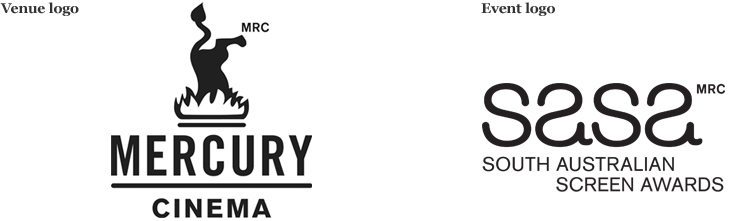 Logos for the Mercury Cinema and the South Australian Screen Awards.