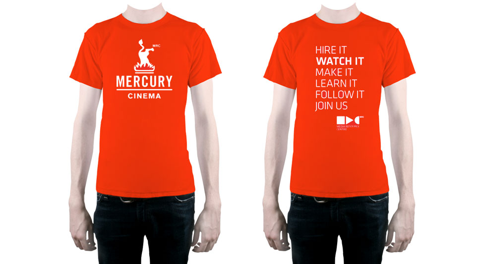 Shirt design for Mercury Cinema and MRC, on orange shirts.