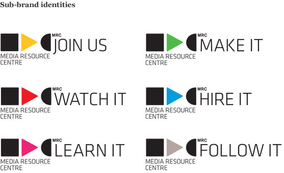 A series of logo variations for the MRC sub-brands.