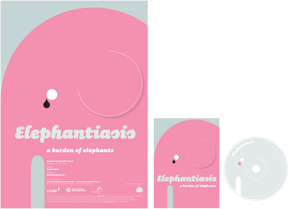 Various promotional material for the short film, Elephantiasis. Includes a poster, a disc cover and a disc.