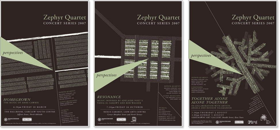 3 different covers for the Zephyr Quartet annual performances.