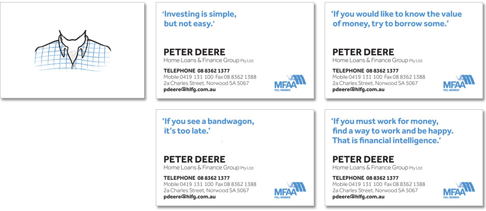 The Peter Deere business cards, each with different quotes.
