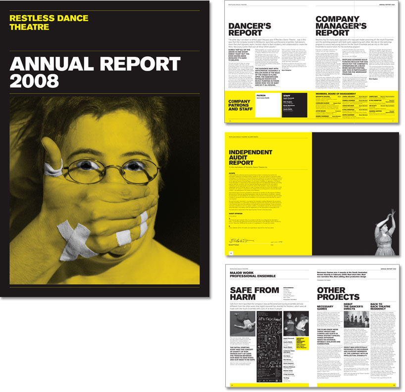 The cover and internal page designs from the 2008 Annual Report.