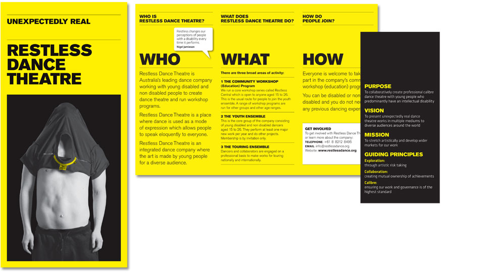 Designs of the Restless 3 fold brochure.