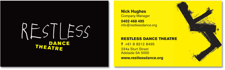 An example of the Restless business card, shown from both sides.