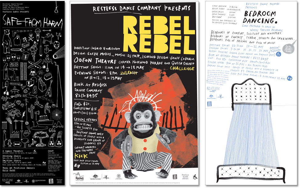 Designs of fliers for three Restless productions, Rebel, Safe From Harm and Bedroom Dancing.
